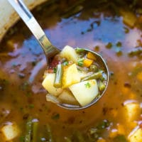 A pot full with chunky green bean and potato soup, easy green bean soup, perfect for year round.