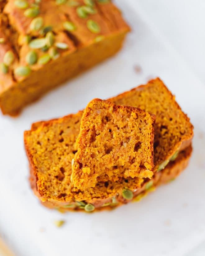 Slices of moist pumpkin bread