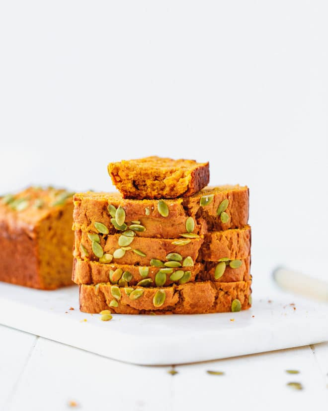 Slices of moist pumpkin bread in top of each other