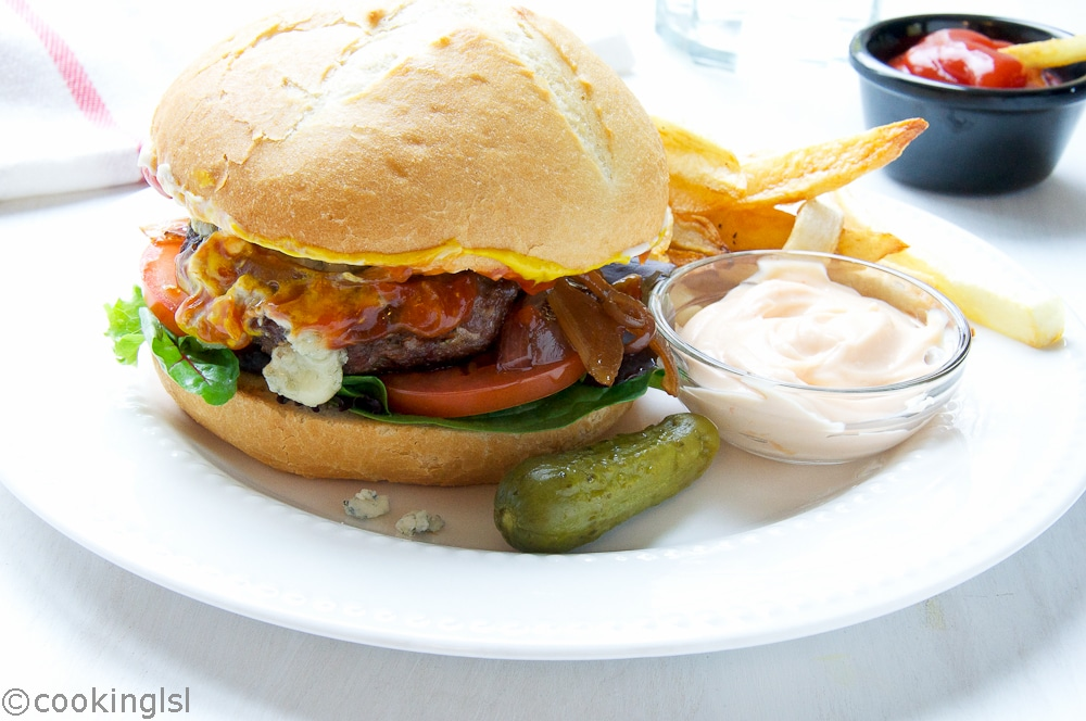Bison Burgers With Blue Cheese