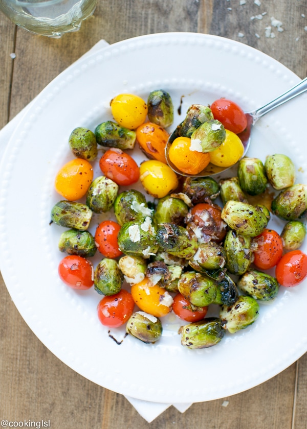 Balsamic brussels sprouts and tomatoes
