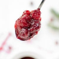 A spoon full of easy homemade cranberry sauce