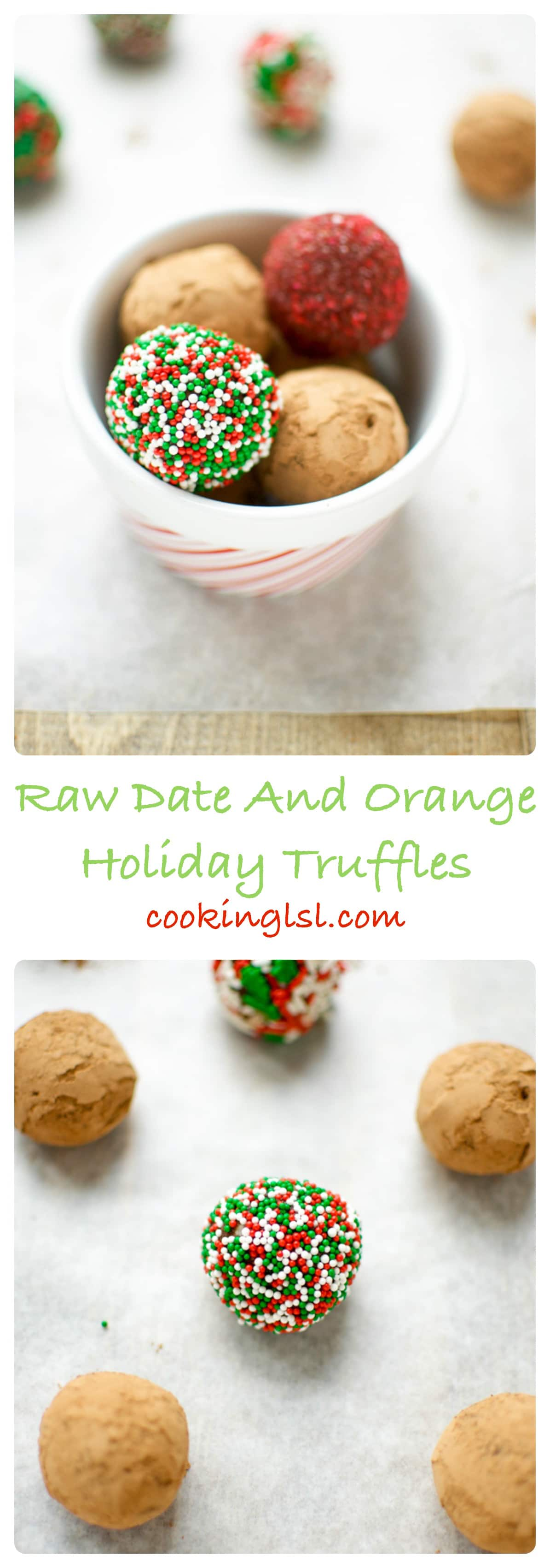 Raw Date And Orange Holiday Truffles - the perfect sweet treat to give as a holiday present. Easy to make, they are naturally sweetened with dates, loaded with fiber from the hazelnuts, sweet-tart flavor from the cranberries, fresh and light citrusy orange taste and rich chocolate flavor from the cacao powder. These truffles are healthy, low fat and sinfully delicious!