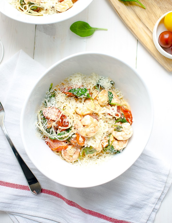 Shrimp Pasta Lite Recipe Tomatoes Spinach