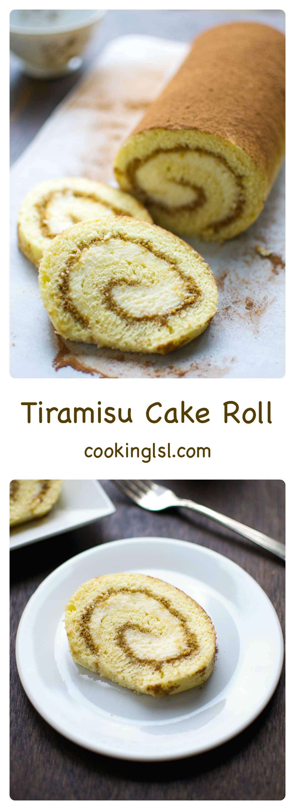 Tiramisu cake roll recipe - espresso flavored sponge cake, brushed with coffee syrup and filled with Mascarpone Cheese Cream filling. #espresso #Italian #tiramisu #tiramisucakeroll #swissroll #cakeroll