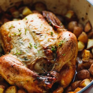 Whole roasted chicken with potatoes with golden skin in a baking dish