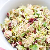 Brussels Sprouts Salad Cranberry orange Vinaigrette, shaved Brussels sprouts and dried cranberries