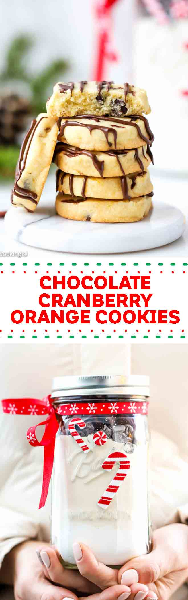 These slice and bake chocolate orange cranberry cookies combine my favorite winter flavors along withshortbread dough. Soft, buttery, chewy and chocolatey.