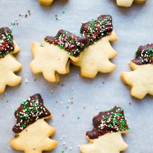 Christmas Tree Shaped Shortbread Homemade Cookies