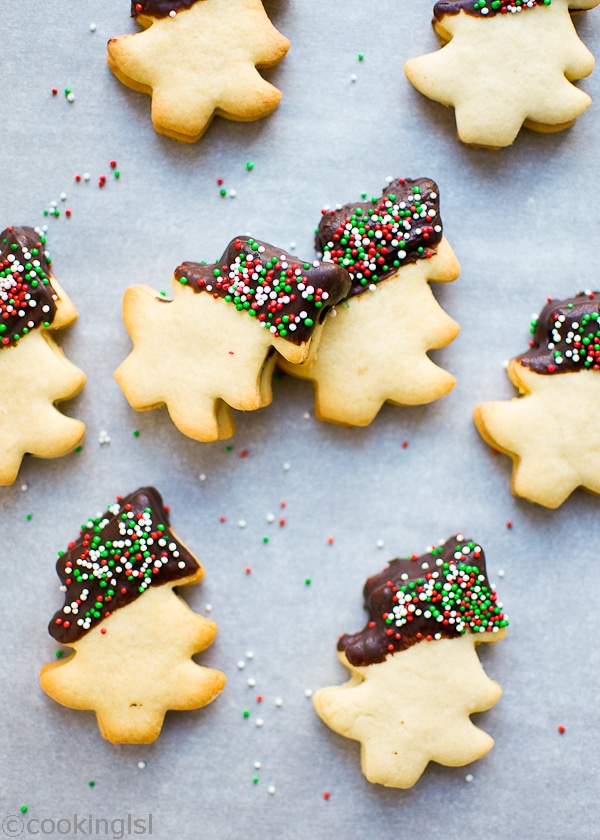 Christmas Tree Shaped Shortbread Homemade Cookies