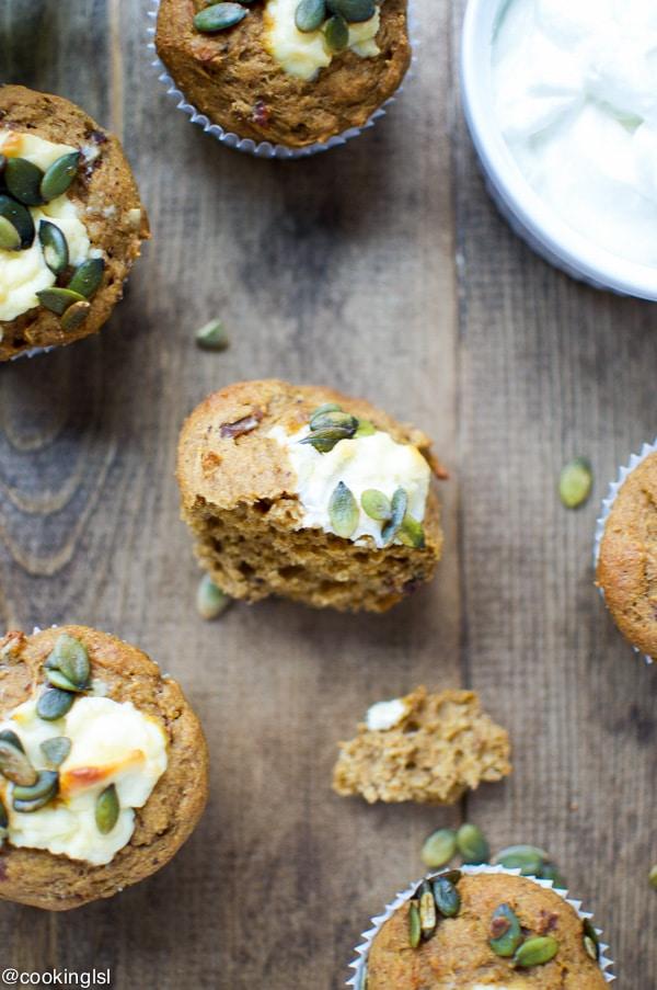 Naturally Sweetened Pumpkin Cream Cheese Muffins