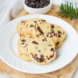 Slice and Bake Orange Cranberry Chocolate Cookies