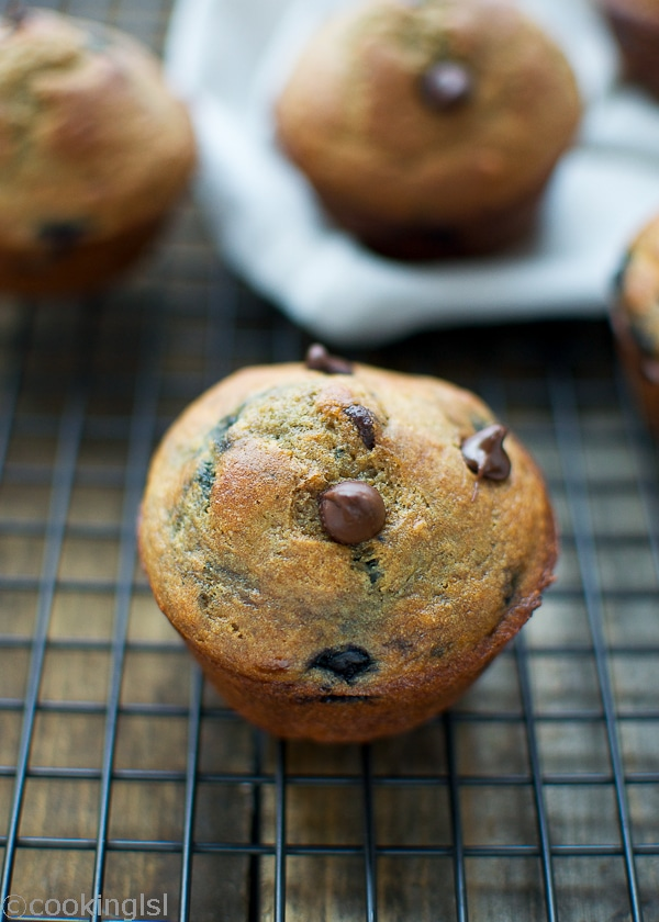Chocolate Banana Blueberry Muffins