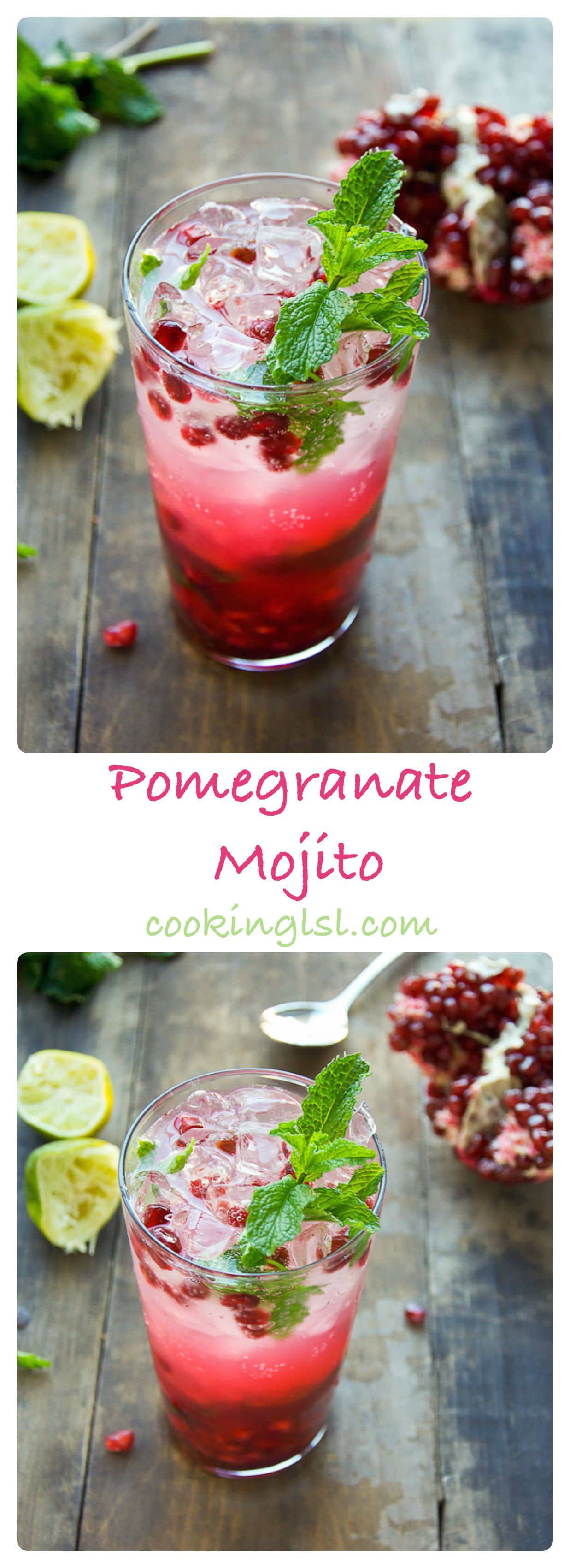 Simple and impressive Pomegranate Mojito Cocktail Antioxidants with fresh limes on the side