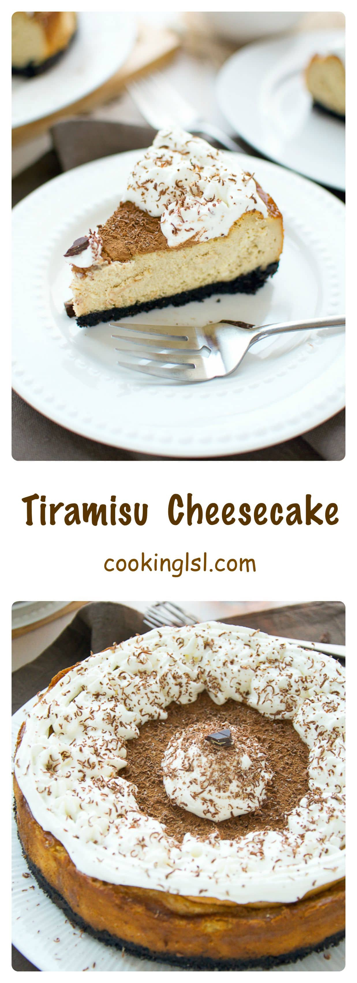 Tiramisu Cheesecake - Luscious, creamy and sweet coffee infused cheesecake with crumby Oreo cookie crust. Dusted with cocoa powder and topped with whipped cream, it combines two popular desserts - Tiramisu and Cheesecake.