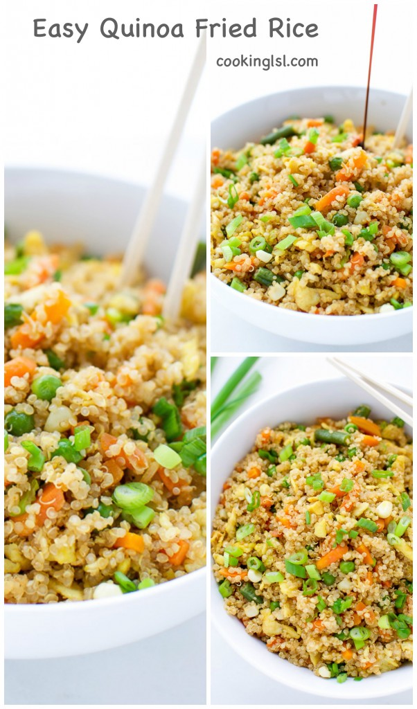 EASY QUINOA FRIED RICE with green onions and soy sauce. Made with frozen vegetables.