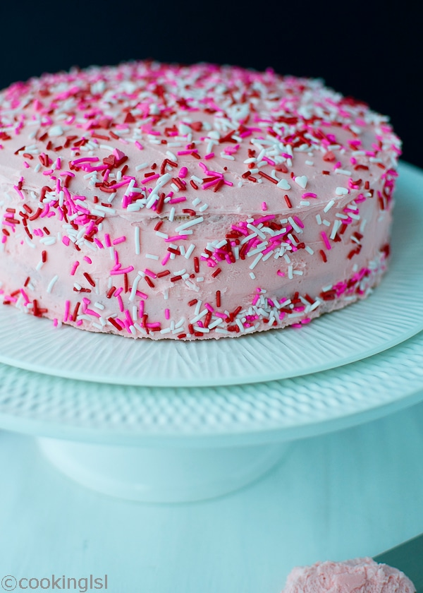 Pink Funfetti Cake For Valentines Day