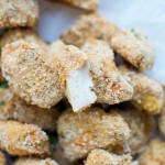 Crispy Baked Parmesan Flax Chicken Bites - tender chicken bites, loaded with Omega-3 and flavorful Parmesan.