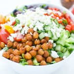 Mediterranean style chickpea salad light healthy hearty