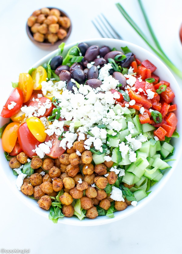 healthy-easy-nutritious-delicious-Mediterranean-salad-spicy-roasted-canned-chickpeas-garbanzo-beans