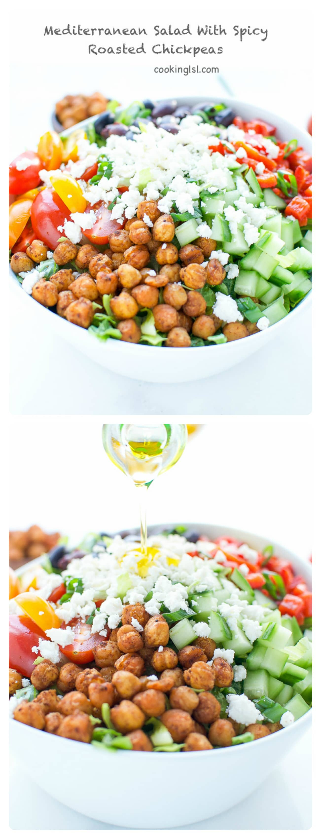 This Mediterranean Salad With Spicy Roasted Chickpeas is healthy, hearty and also full of protein, vitamins and fiber. Perfect for a weekday lunch.