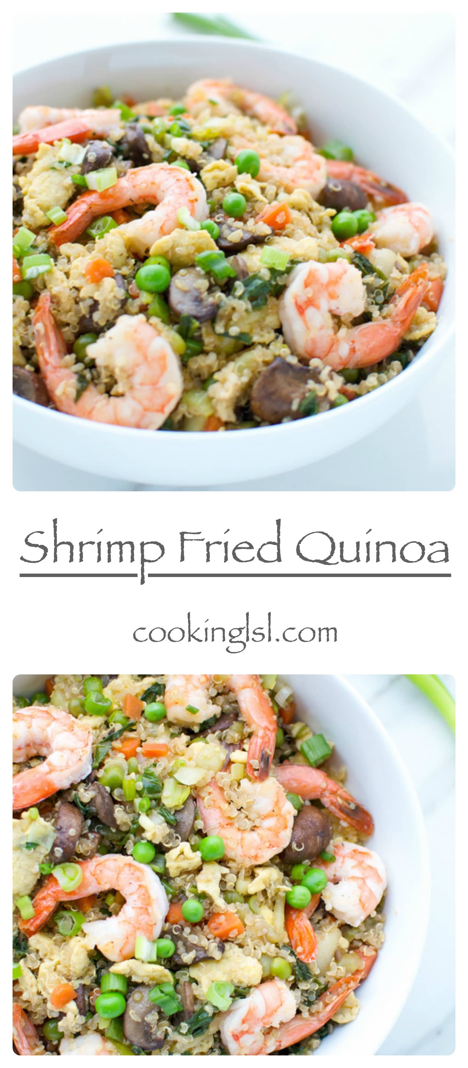 Shrimp Fried Quinoa - colorful dish in a white bowl, topped with green onions.