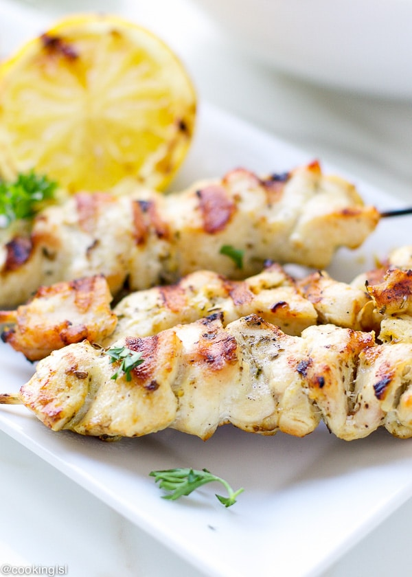 mediterranean style chicken skewers cabbage slaw
