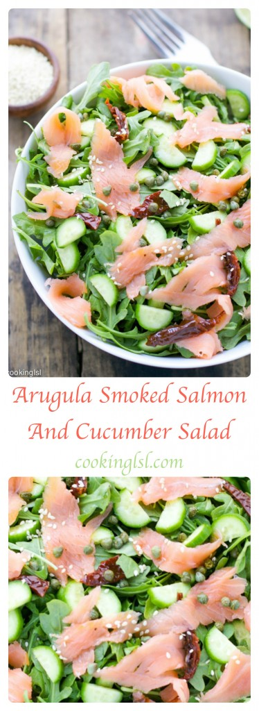 easy fresh arugula smoked salmon cucumber salad