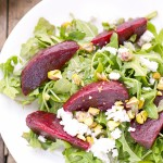 roasted beets arugula goat cheese pistachios salad