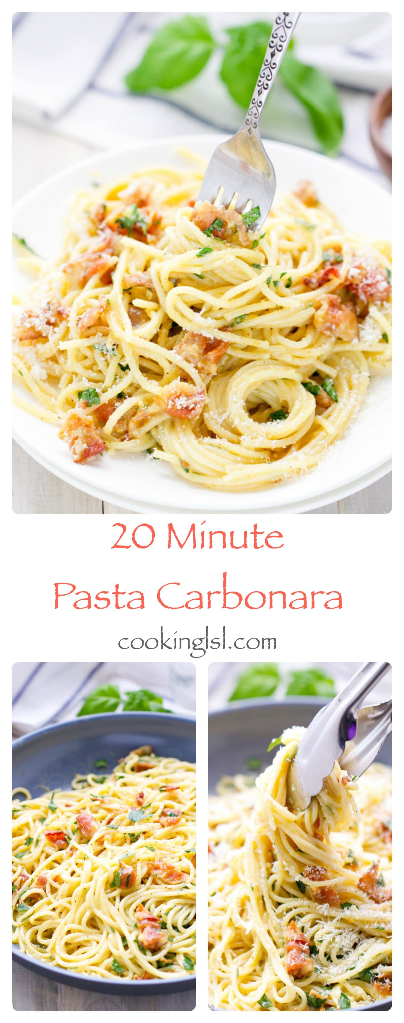Easy 20 Minute Pasta Carbonara with only 5 main ingredients and it takes 20 minutes to make. Perfect for a quick weeknight dinner.