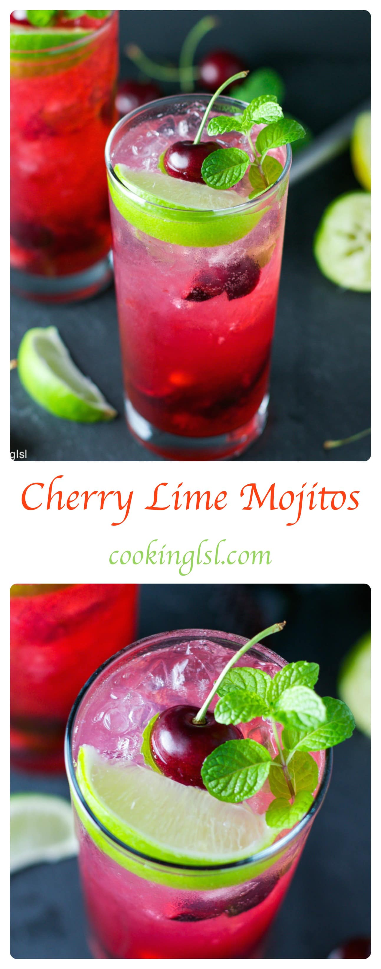 Cherry Lime Mojito - very simple to make, sweet and refreshing.