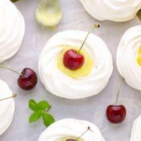 meringue nests lime curd cherries meringue pies