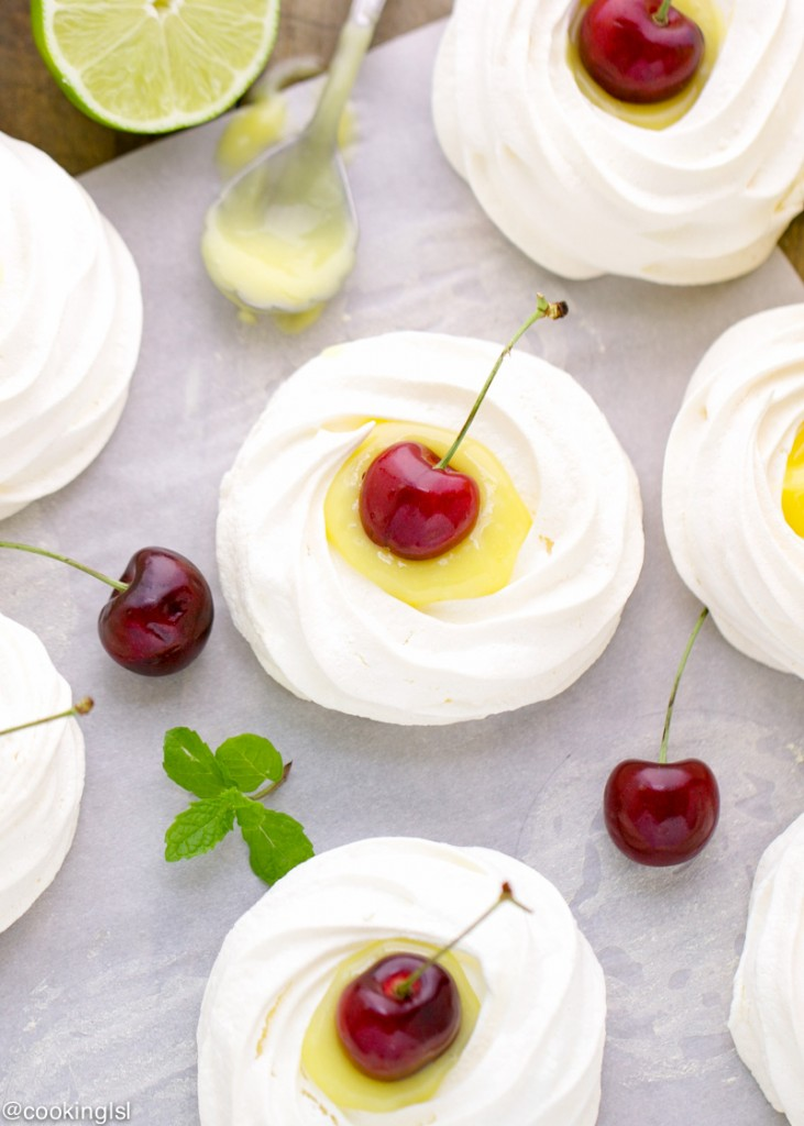 meringue nests with lime curd and cherries - Christmas Tree Meringues
