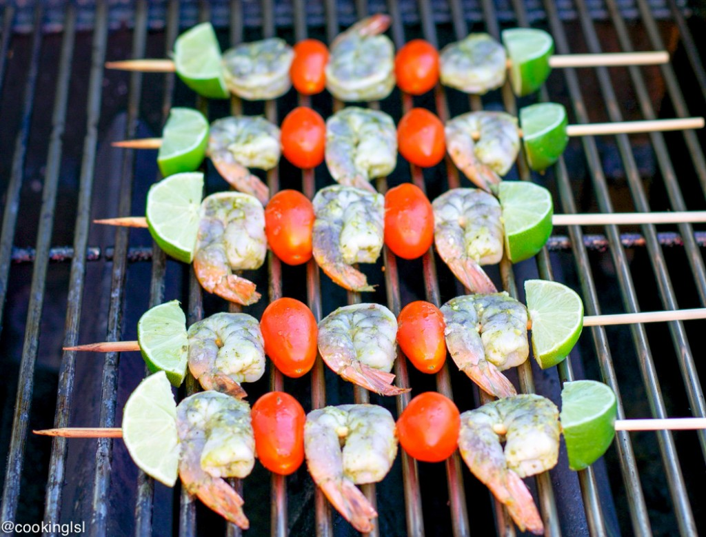 Easy Pesto Shrimp Skewers On The Grill for 4th of july