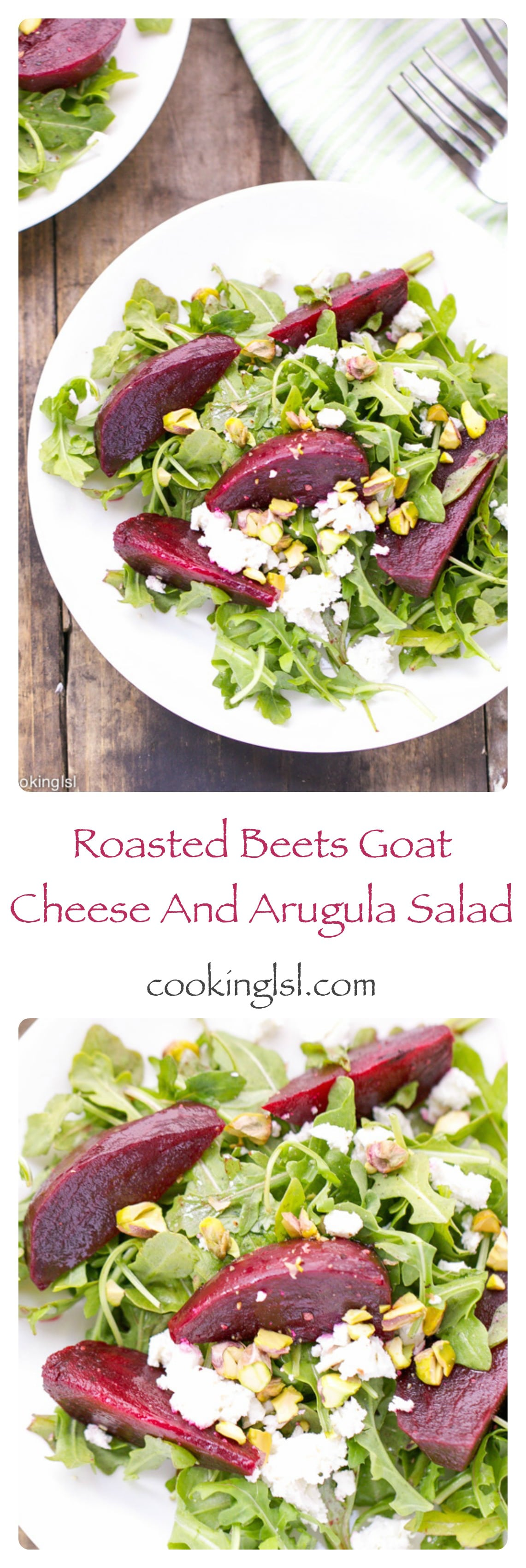 Roasted-beet-arugula-goat-cheese-pistachios-salad