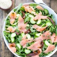 easy-fresh-arugula-smoked-salmon-cucumber-salad