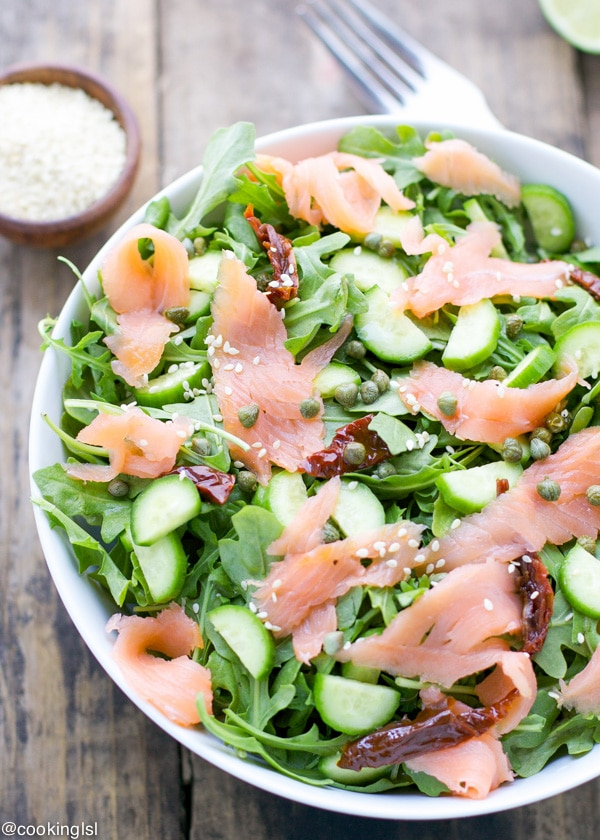 easy-fresh-arugula-smoked-salmon-cucumber-salad