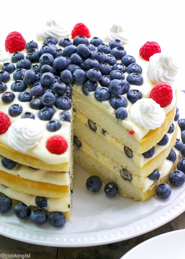Blueberry Bavarian Cream Yellow Layer Cake Summer