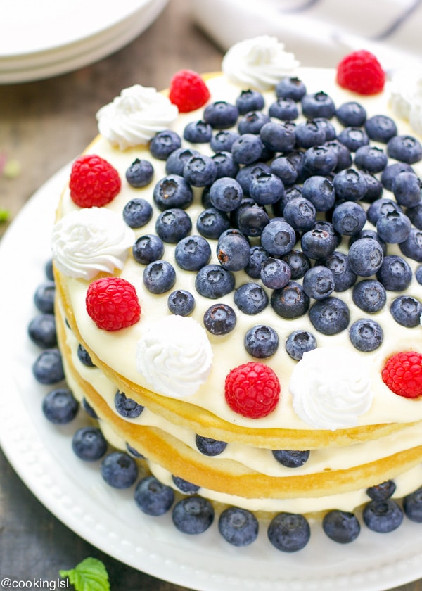 Bavarian Cream cake with berries on a plate