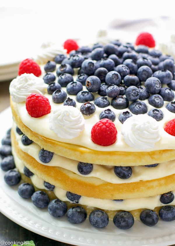 Blueberries and Bavarian Cream cake on a platter
