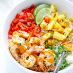 Caribbean spicy grilled shrimp cauliflower rice pineapple-el-yucateco