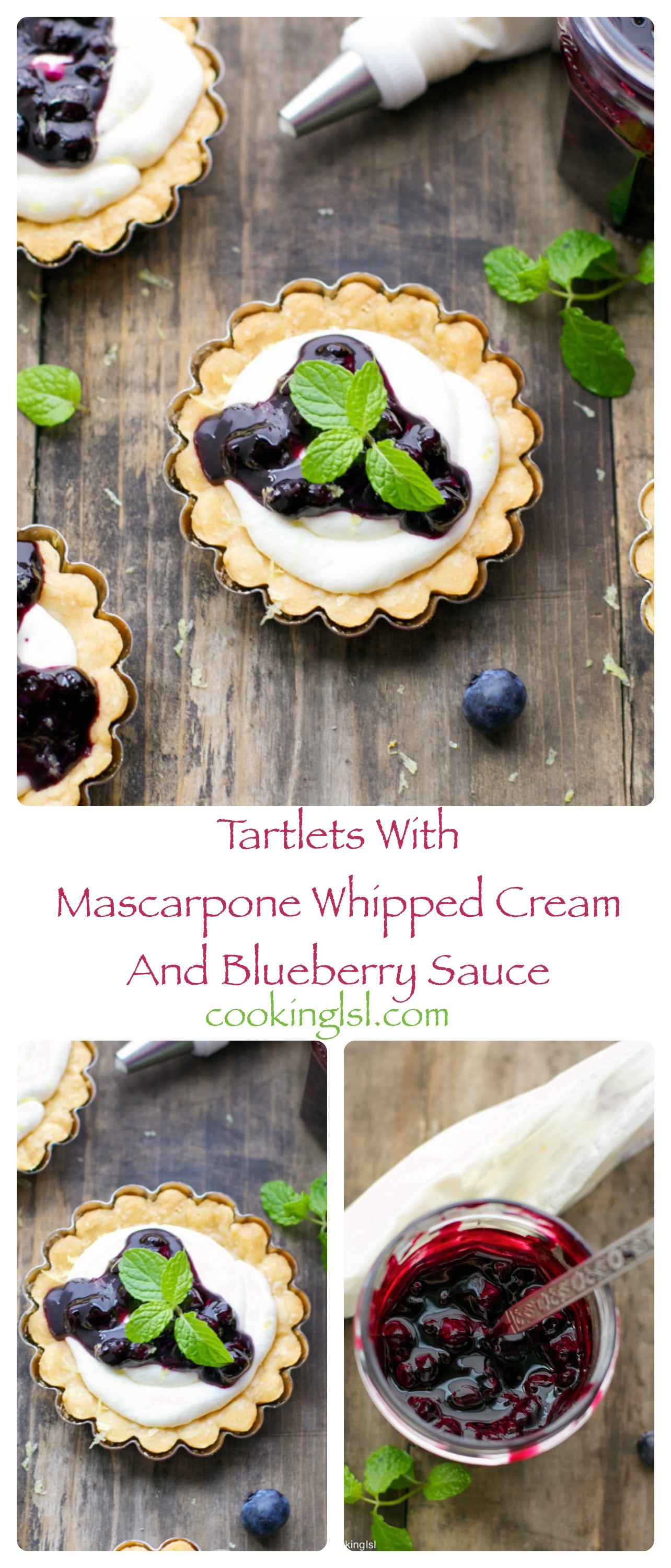 mini tartlets-tarts-whipped-mascarpone-cream-blueberry-sauce-dessert