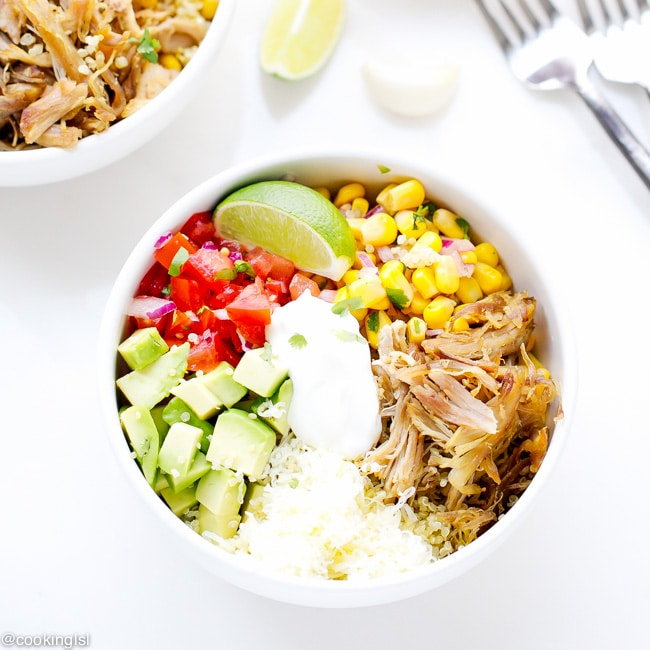 easy dinner ideas pulled pork quinoa bowls