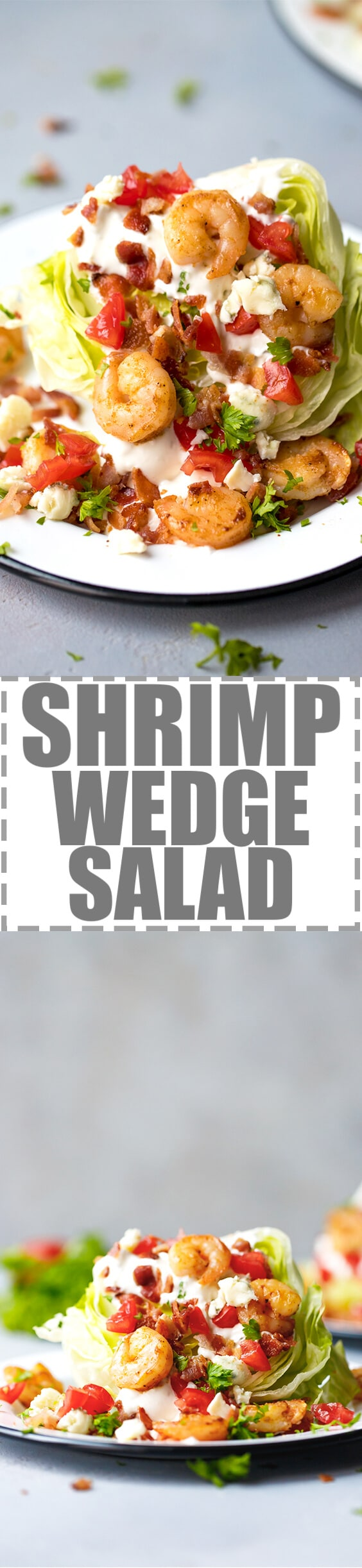 Gulf Shrimp Iceberg Lettuce Wedge Salad - this very easy to make this salad is packed with wonderful flavors. Crisp lettuce and creamy homemade blue cheese salad dressing, topped with tender, great tasting US-gulf shrimp. Low-carb and Keto Friendly.