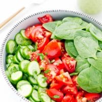 simple-light-nutritious-delicious-Tomato-Cucumber-And-Spinach-Salad-With-Avocado-Parsley-Dressing