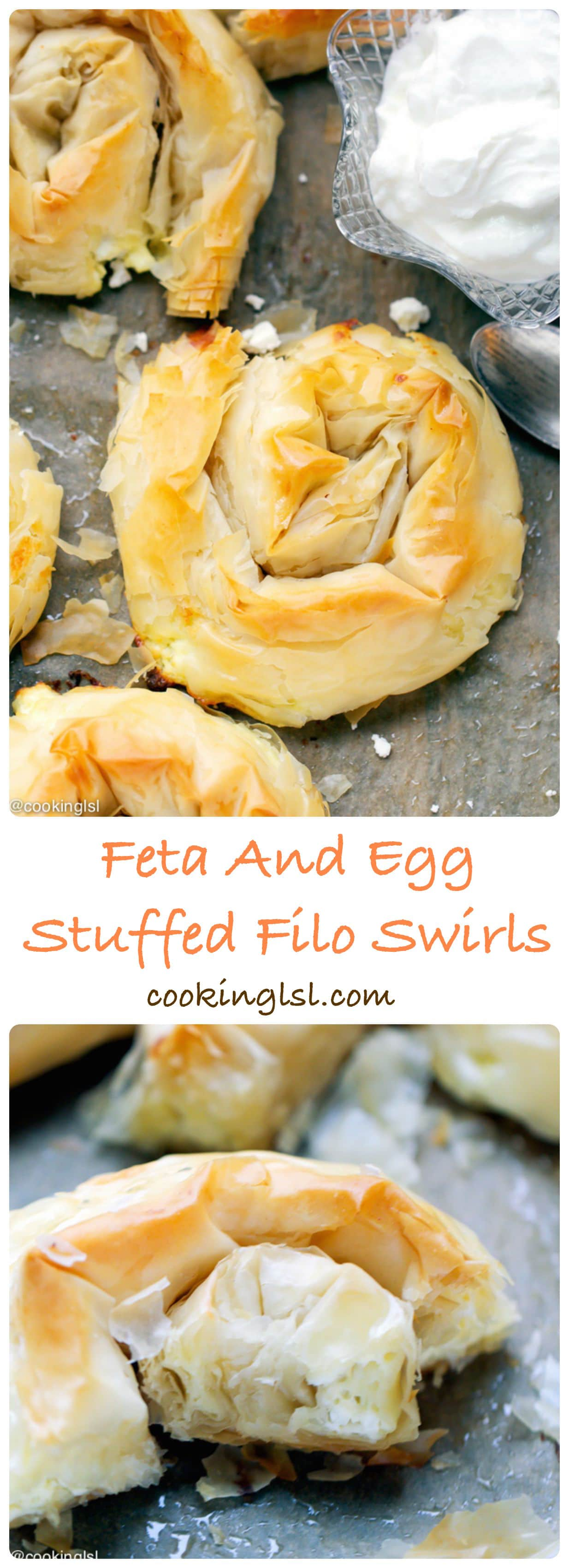 Phyllo {Filo} Swirls With Eggs And Feta - crunchy and delicious, so simple to make and one of my favorite treats.