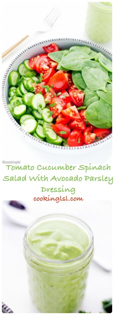 simple-light-nutritious-delicious-Tomato-Cucumber-And-Spinach-Salad-With-Avocado-Parsley-Dressing-lunch