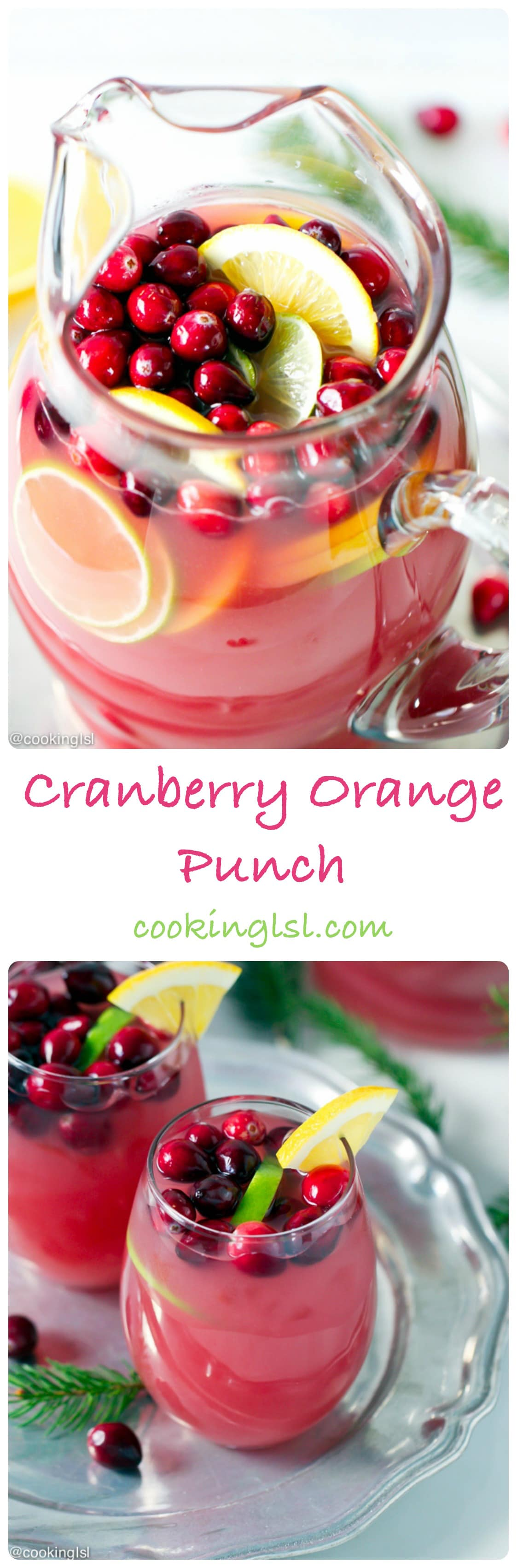 Cranberry Orange Punch - festive drink perfect for the holidays. Add some Gran Marnier and turn it into a great alcoholic drink.