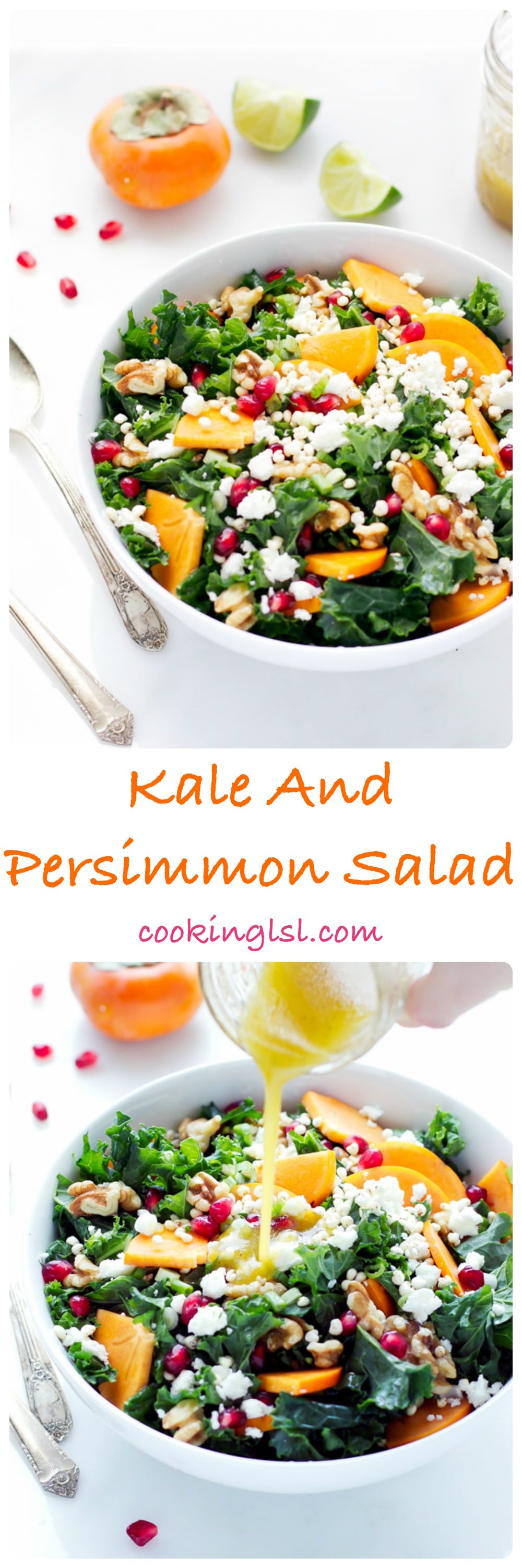 A bowl with kale persimmon salad, made with walnuts, feta, millet and pomegranate. Lime dressing poured on top from a jar.