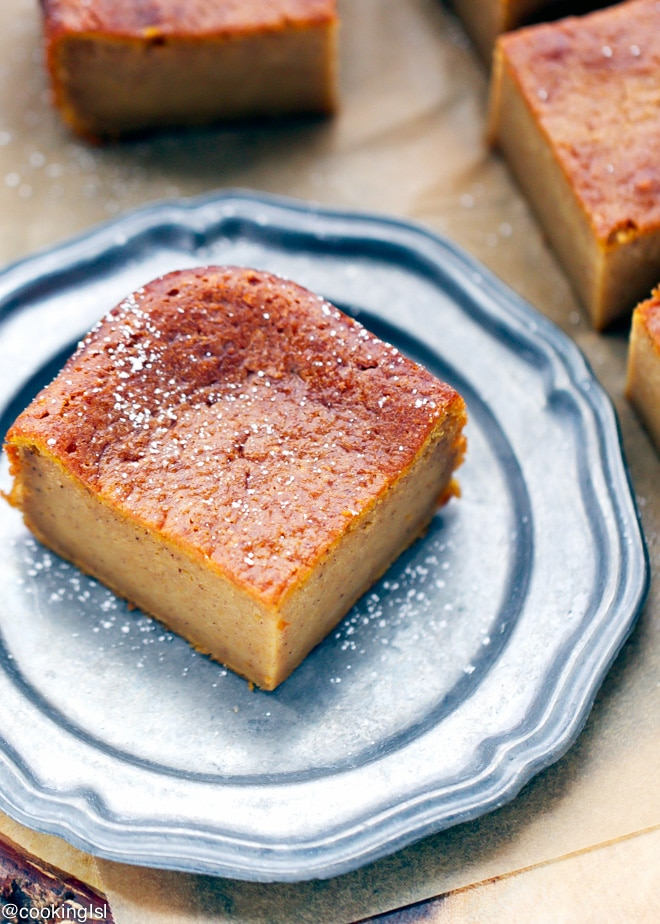 Pumpkin magic custard cake on a plate